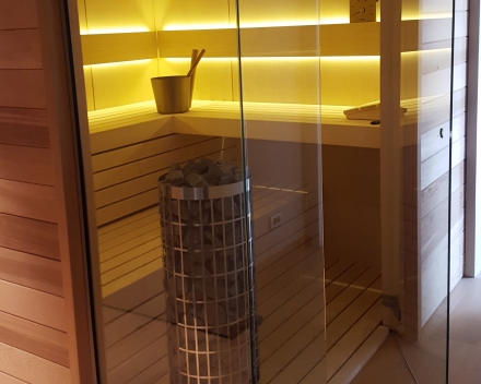 Sauna glazen wand & deur