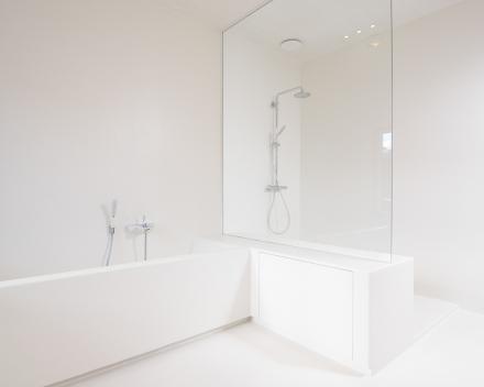 Glazen douchewand op badrand